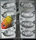 Калъп за олово за 4 туистера тип глава на риба 25-45-60-75 грама N0106