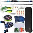 Rod Sougayilang 4 Section Baitcsting Rod Full Kit Carbon Fiber Casting Reel Sets 100M Fishing Line Lures Hooks Combo Pesca 2.10 m