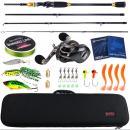 Rod Sougayilang Baitcsting Rod Full Kit 4 Section M Power Carbon Fishing Rod 100M Fishing Line Lures Hooks Jig Head Pesca 2.10 m